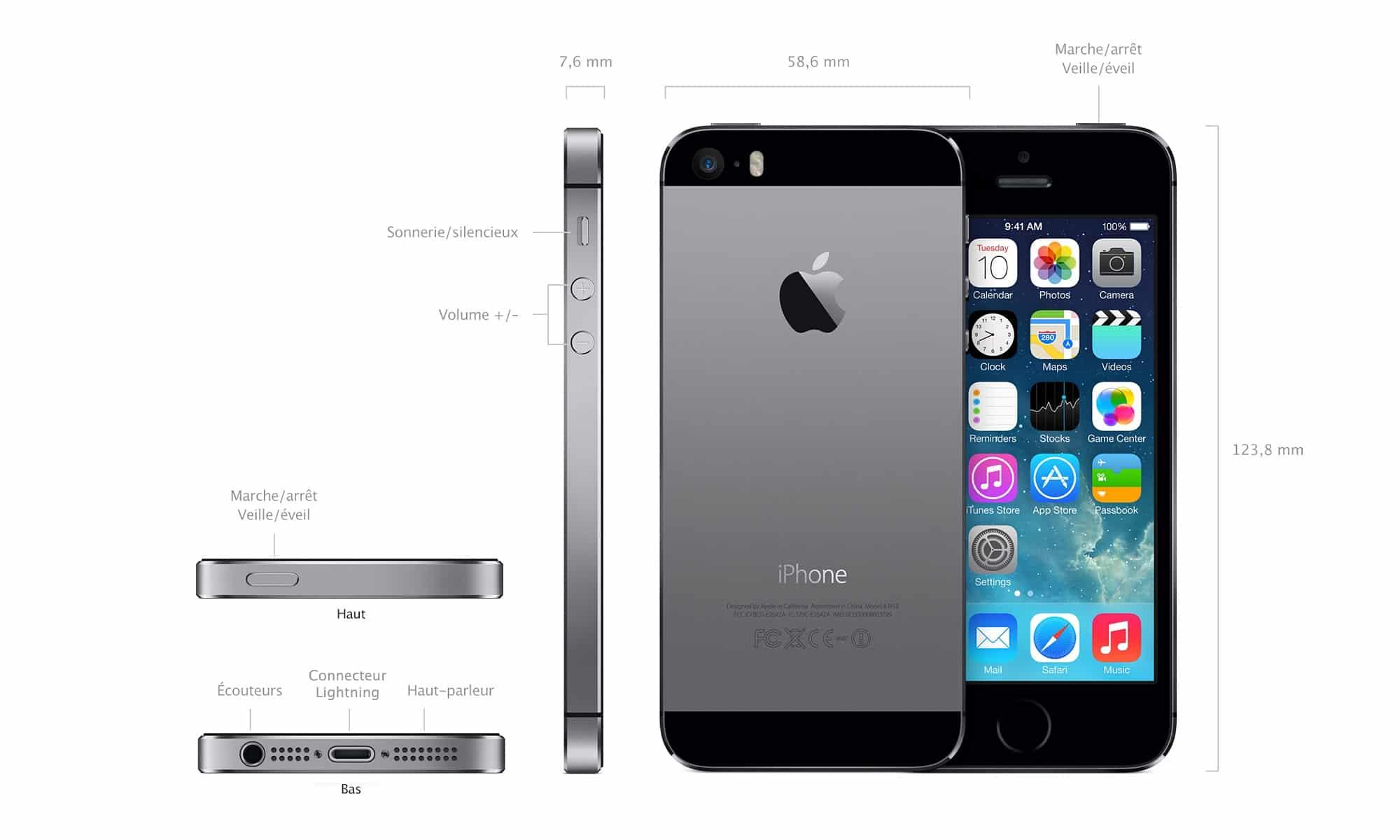 apple iphone 5s gris sid ral noir 64 go prix. Black Bedroom Furniture Sets. Home Design Ideas
