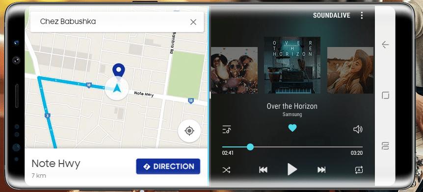 Avec le Galaxy Note 8, on peut gérer deux fenêtres sur le même écran.
