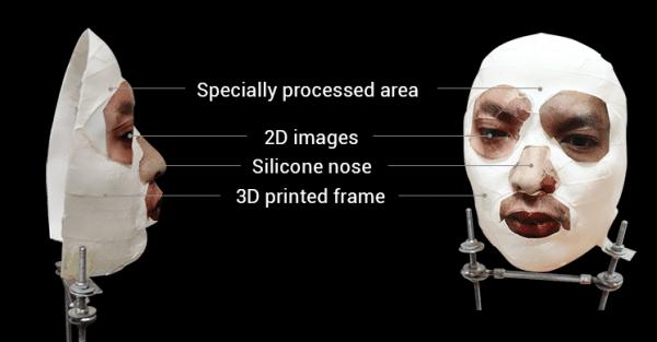 Le masque dont a été victime le Face ID d'Apple.