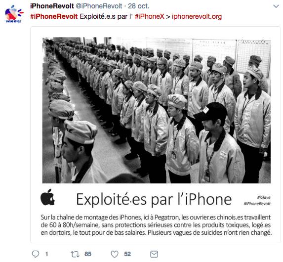 Exemple de tweet relayant les informations du collectif faisant campagne contre les iPhone, partagé sur Twitter