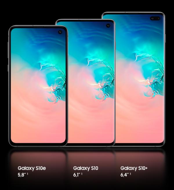 différents formats pour les nouveaux smartphones de Samsung : galaxy s10e S10 et S10+