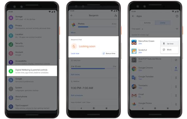 Exemple d'améliorations concernant la nouvelle version Android de Google