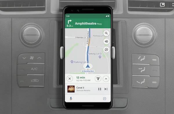 Apercu de Google Maps sous Android Q