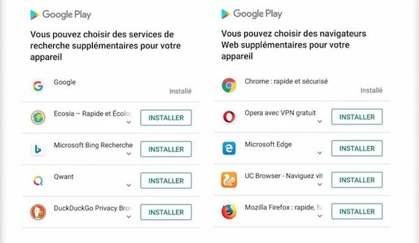 Google est désormais obligé de proposer par défaut l'installation d'autres moteurs de recherches