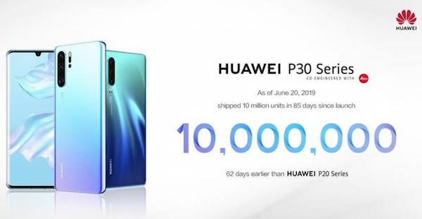10 millions de ventes pour le P30 de Huawei