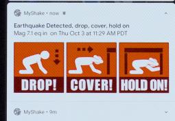 L'application MyShake pour détecter les séismes